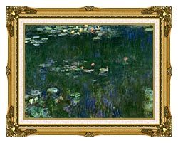 Claude Monet Green Reflections II Center Detail canvas with museum ornate gold frame