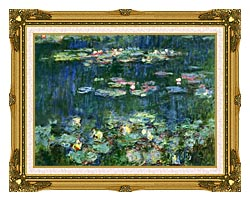 Claude Monet Green Reflections III Right Detail canvas with museum ornate gold frame