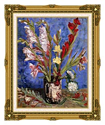 Vincent Van Gogh Vase With Gladioli canvas with museum ornate gold frame