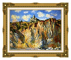 Claude Monet The Church At Varengeville Morning Effect Landscape Detail canvas with museum ornate gold frame