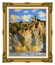 Claude Monet The Church At Varengeville Morning Effect Portrait Detail canvas with museum ornate gold frame