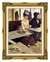 Edgar Degas The Absinthe Drinker In A Cafe canvas with museum ornate gold frame