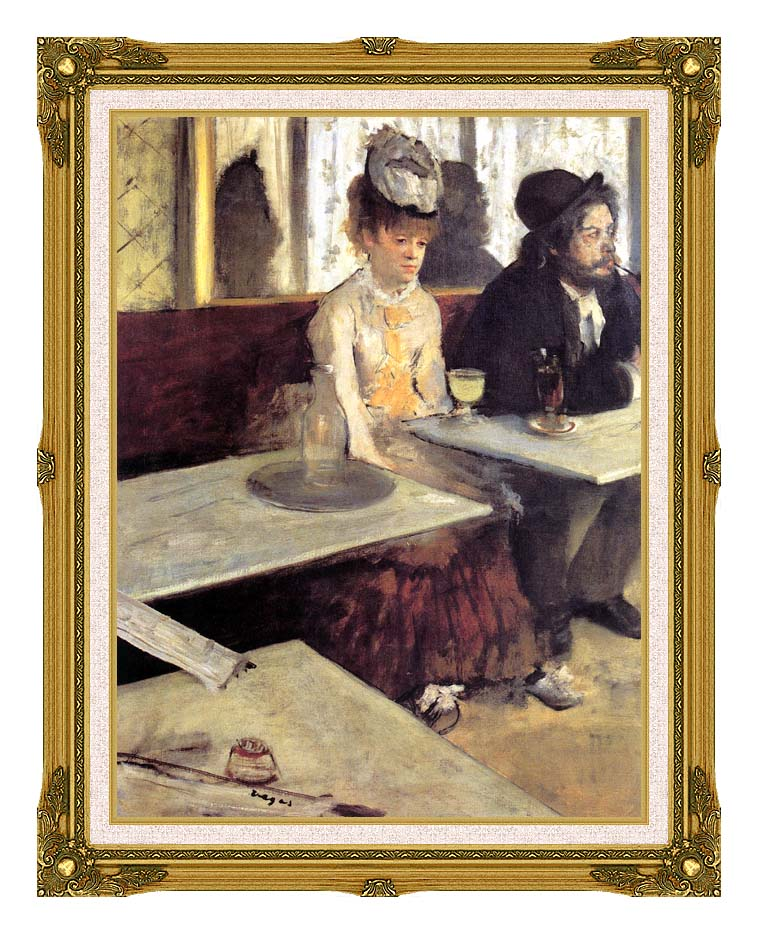 Edgar Degas The Absinthe Drinker in a Cafe with Museum Ornate Frame w/Liner
