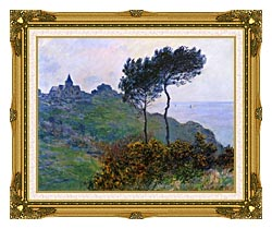Claude Monet The Church At Varengeville Grey Weather canvas with museum ornate gold frame