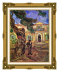 Vincent Van Gogh Pine Tree And Figure In Front Of The Saint Paul Hospital canvas with museum ornate gold frame
