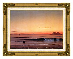 Martin Johnson Heade Twilight Singing Beach Detail canvas with museum ornate gold frame