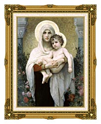 William Bouguereau Madonna Of The Roses canvas with museum ornate gold frame