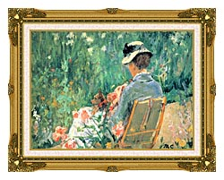 Mary Cassatt Lydia Seated In The Garden With A Dog canvas with museum ornate gold frame