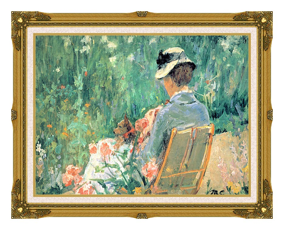 Mary Cassatt Lydia Seated in the Garden with a Dog with Museum Ornate Frame w/Liner