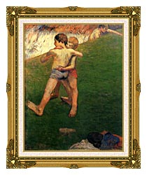 Paul Gauguin Boys Wrestling canvas with museum ornate gold frame