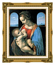 Leonardo Da Vinci Madonna Litta canvas with museum ornate gold frame