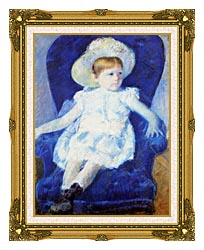 Mary Cassatt Elsie In A Blue Chair canvas with museum ornate gold frame