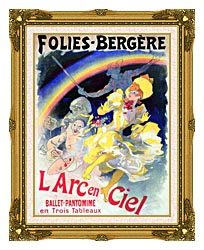 Jules Cheret Folies Bergere Larc En Ciel canvas with museum ornate gold frame