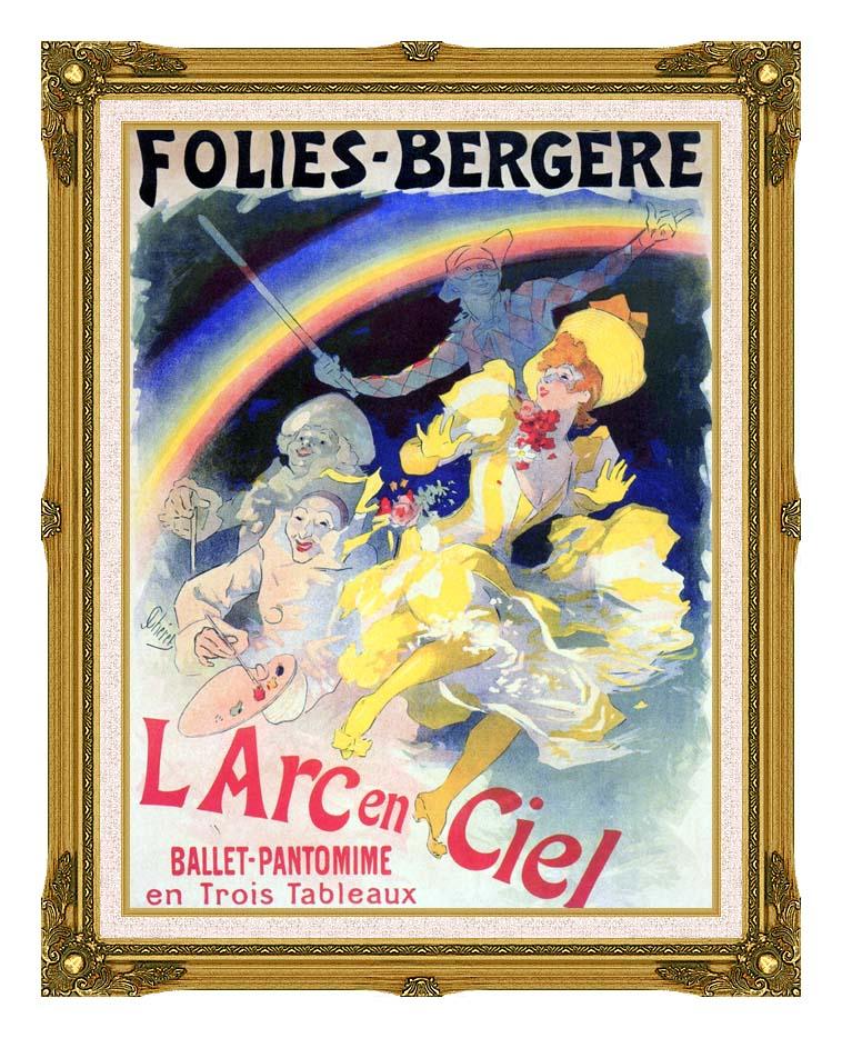 Jules Cheret Folies-Bergere L'Arc-en-Ciel with Museum Ornate Frame w/Liner