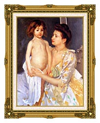 Mary Cassatt Jules Being Dried By His Mother canvas with museum ornate gold frame