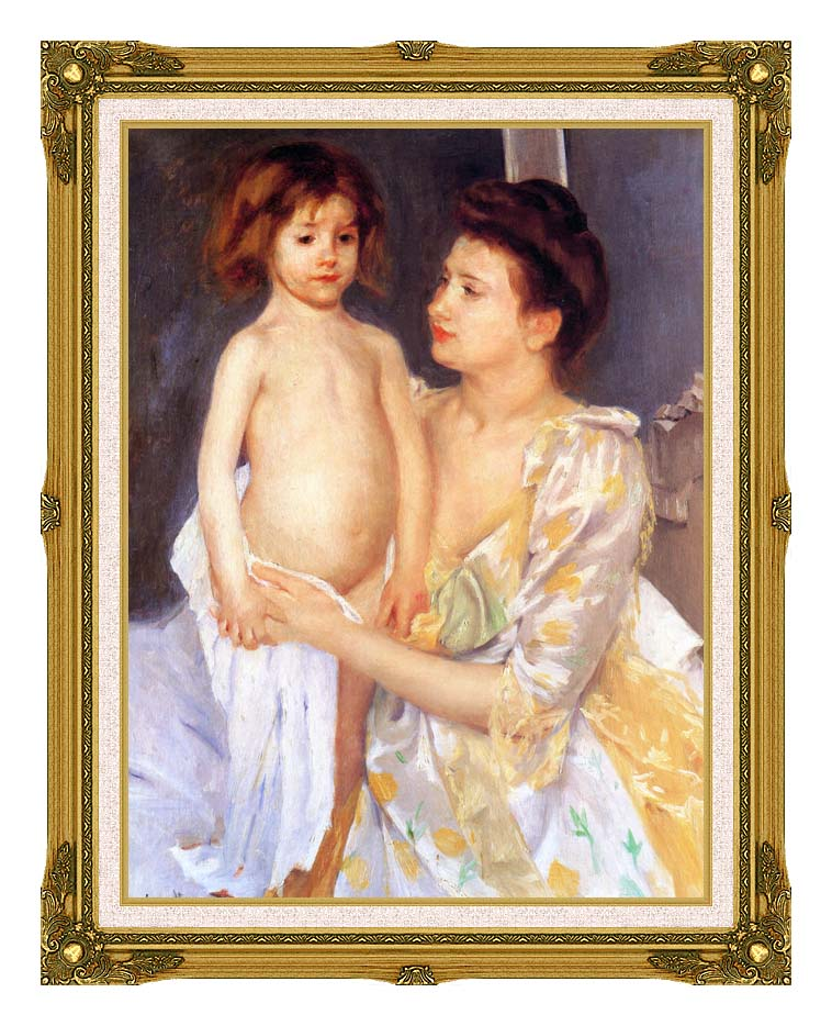 Mary Cassatt Jules Being Dried by his Mother with Museum Ornate Frame w/Liner
