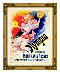 Jules Cheret Olympia canvas with museum ornate gold frame