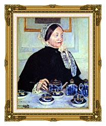 Mary Cassatt Lady At The Tea Table canvas with museum ornate gold frame