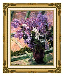 Mary Cassatt Lilacs In The Window canvas with museum ornate gold frame