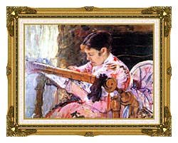 Mary Cassatt Lydia At The Tapestry Loom canvas with museum ornate gold frame