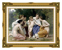 William Bouguereau Admiration canvas with museum ornate gold frame