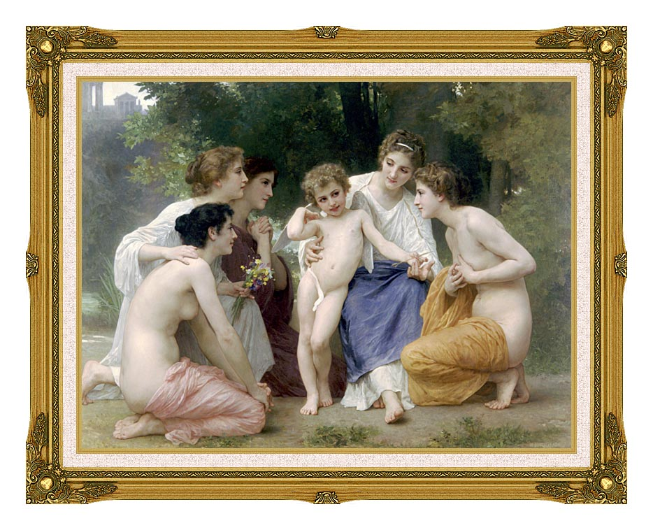 William Bouguereau Admiration with Museum Ornate Frame w/Liner