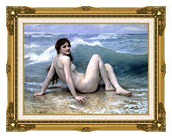 William Bouguereau The Wave canvas with museum ornate gold frame