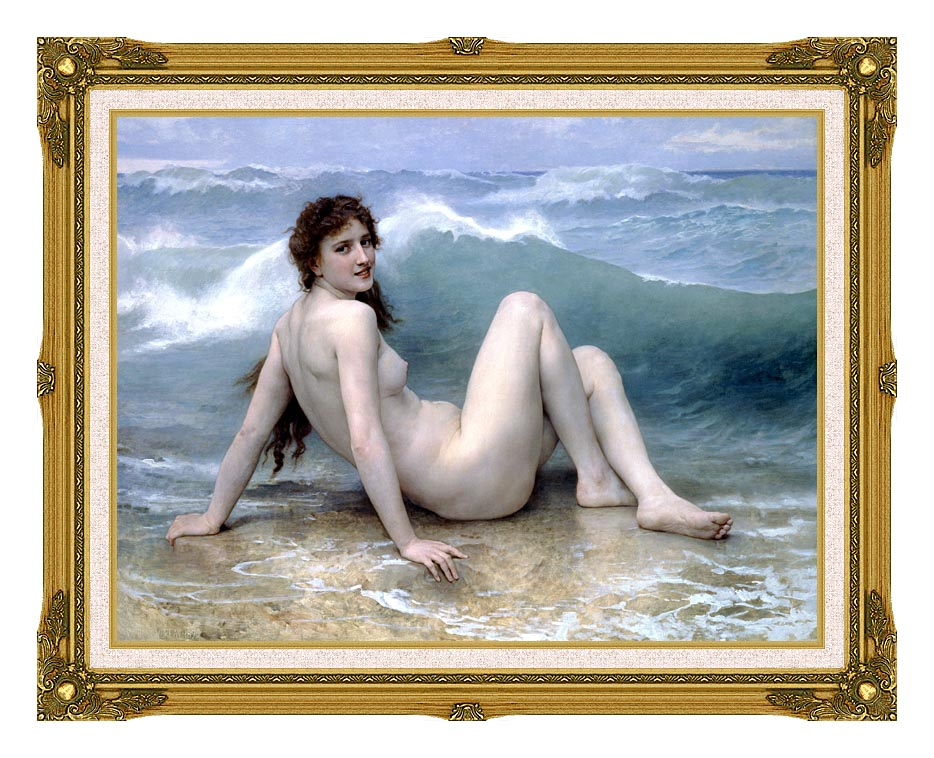 William Bouguereau The Wave with Museum Ornate Frame w/Liner