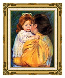 Mary Cassatt Maternal Kiss canvas with museum ornate gold frame