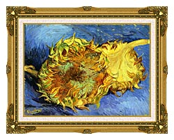 Vincent Van Gogh Two Sunflowers canvas with museum ornate gold frame