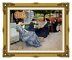Gustave Caillebotte Portraits In The Countryside canvas with museum ornate gold frame