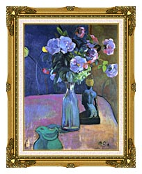 Paul Gauguin Roses And Statuette canvas with museum ornate gold frame