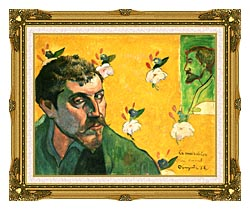 Paul Gauguin Self Portrait Dedicated To Vincent Van Gogh canvas with museum ornate gold frame