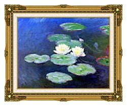 Claude Monet Nympheas Effet Du Soir canvas with museum ornate gold frame
