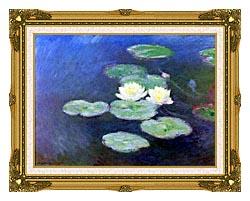 Claude Monet Nympheas Effet Du Soir Detail canvas with museum ornate gold frame