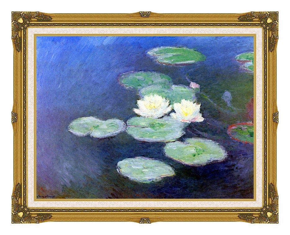 Claude Monet Nympheas, Effet du Soir (detail) with Museum Ornate Frame w/Liner