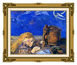 Paul Gauguin Sleeping Child canvas with museum ornate gold frame