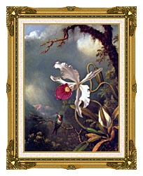 Martin Johnson Heade An Amethyst Hummingbird With A White Orchid canvas with museum ornate gold frame