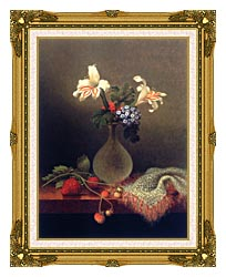 Martin Johnson Heade A Vase Of Corn Lilies And Heliotrope canvas with museum ornate gold frame
