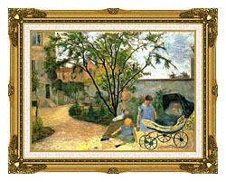 Paul Gauguin The Artists Family In The Garden Of Rue Carcel canvas with museum ornate gold frame