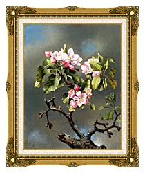 Martin Johnson Heade Branch Of Apple Blossoms Against A Cloudy Sky canvas with museum ornate gold frame