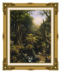 Martin Johnson Heade Brazilian Forest canvas with museum ornate gold frame