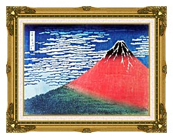 Katsushika Hokusai Mount Fuji In Clear Weather canvas with museum ornate gold frame