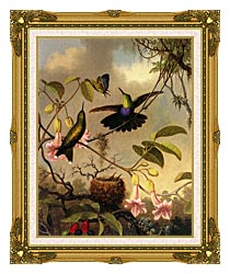 Martin Johnson Heade Fork Tailed Woodnymph canvas with museum ornate gold frame