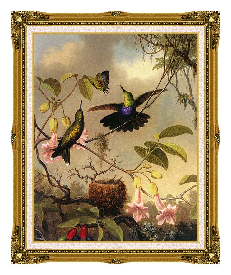 Martin Johnson Heade Fork Tailed Woodnymph with Museum Ornate Frame w/Liner