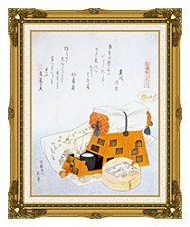 Katsushika Hokusai A Pillow And A Drawing Of A Good Luck Ship A New Years Custom canvas with museum ornate gold frame