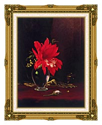 Martin Johnson Heade Red Flower In A Vase canvas with museum ornate gold frame