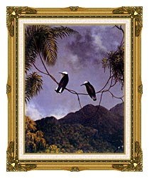 Martin Johnson Heade Snowcap Hummingbirds canvas with museum ornate gold frame