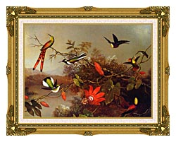 Martin Johnson Heade Tropical Landscape With Ten Hummingbirds canvas with museum ornate gold frame