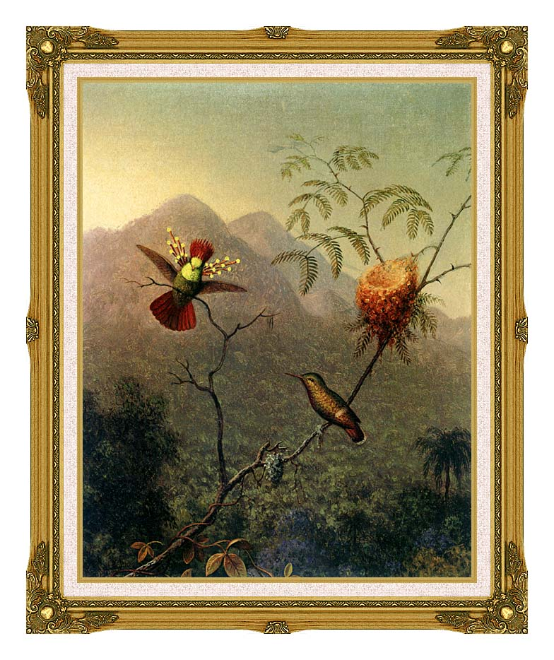 Martin Johnson Heade Tufted Coquette with Museum Ornate Frame w/Liner